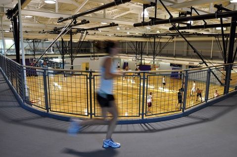 Winona States new Integrated Wellness Center boasts an indoor running track around the perimeter of the gym.