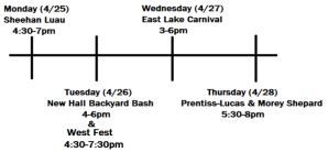 Visual schedule for the end of the year hall parties.